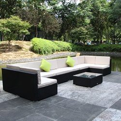 U-MAX 7 Piece 7-12 Pieces Patio PE Rattan Wicker Sofa Sectional Furniture Set (9-Pieces, Black)