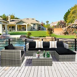 Cloud Mountain 6 Piece Rattan Wicker Outdoor Furniture Set Couch Patio Sectional Set PE Garden C ...
