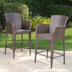 Seawall Patio Furniture ~ Outdoor Wicker Bar Stool (Set of 2)(Brown)