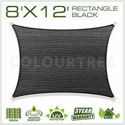 ColourTree 8′ x 12′ Sun Shade Sail Canopy Rectangular Black – Commercial Stan ...