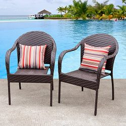 Sundale Outdoor Deluxe Wicker Dining Chairs with Arms and 2 Throw Pillows Set of 2