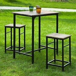 Haotian Sling High Bistro Set ,Home Kitchen Outdoor Garden Bar Set,Patio Furniture, Dining Set ( ...