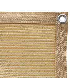 Shatex 90% Shade Fabric Sun Shade Cloth with Grommets for Pergola Cover Canopy 10' x 22', Wheat