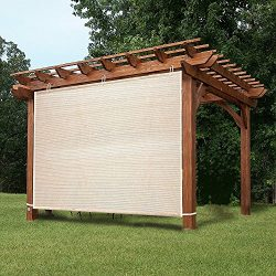 EZ2hang Outdoor Shade Cloth New Design Vertical Side Wall Panel for Patio/Pergola/Window 6x6ft Wheat