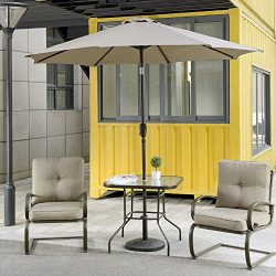 Cloud Mountain 4 Piece Patio Bistro Set Outdoor Patio Umbrella Patio Furniture Set Wrought Iron  ...