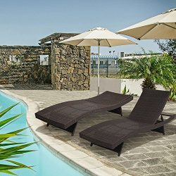 Diensday Outdoor Wicker Furniture 2-Pack All-weather Adjustable Patio Chaise Lounge With Free Wa ...