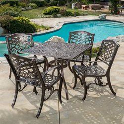Odena Outdoor 5-piece Cast Aluminum Square Bronze Dining Set