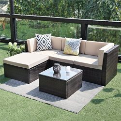 Outdoor Conversation Set Patio Furniture,Wisteria Lane 5PCS Sectional Sofa Set Wicker Glass Tale ...