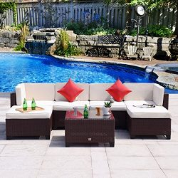 Cloud Mountain 7 PC Patio PE Rattan Wicker Furniture Set Backyard Sectional Furniture Set Outdoo ...