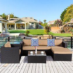 Cloud Mountain 6 PC Patio PE Rattan Wicker Furniture Set Backyard Sectional Furniture Set Outdoo ...