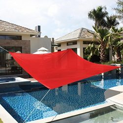 18′ x18′ Deluxe Square Sun Shade Sail UV Top Outdoor Canopy Patio Lawn Red New
