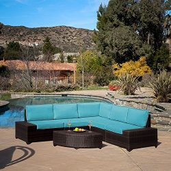Diensday Outdoor Wicker furniture 6 Piece Brown Patio Sectional Sofa Set Clearance with Sky-Blue ...