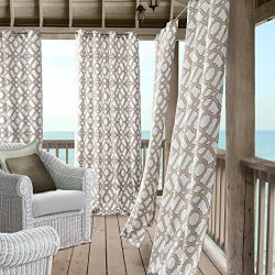 Marin Contemporary Print Indoor/Outdoor Grommet Top Single Panel Window Curtain, Lattice Ironwor ...