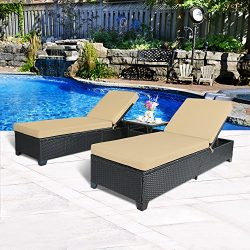Cloud Mountain 3 PC Outdoor Rattan Chaise Lounges Chair Patio PE Wicker Rattan Sofa Furniture Ad ...