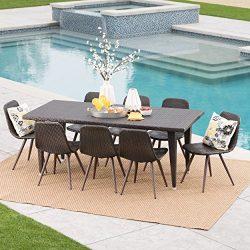 Luka Outdoor 9 Piece Multibrown Wicker 75 Inch Rectangular Dining Set