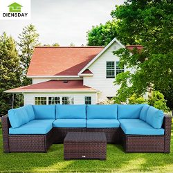 Diensday 7 Piece All-Weather Cushioned Outdoor Patio PE Rattan Wicker Sofa Sectional Furniture S ...