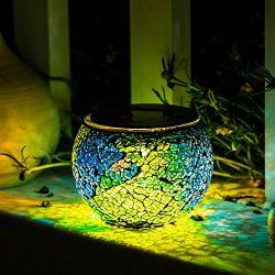 Solar Mosaic Table Lights Kinna 2 Pack Solar Glass Ball Table Lamp Waterproof for Home, Garden,  ...