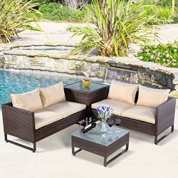 Tangkula 4PCS Patio Sofa Set Wicker Rattan Outdoor Garden Lawn Cushioned Seat with Storage Conve ...