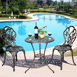 Casart 3 Pcs Bistro Set Cast Tulip Design Antique Outdoor Patio Furniture Weather Resistant Gard ...