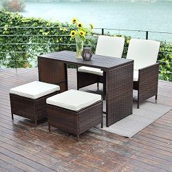 5 PCS Outdoor Wicker Bar Set,Wisteria Lane Porch Sectional Wicker Patio Furniture Dining Set Rat ...