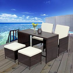 5 PCS Outdoor Rattan Wicker Bar Stool Set,Wisteria Lane All Weather Porch Sectional Sofa Wicker  ...