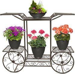 Sorbus Garden Cart Stand & Flower Pot Plant Holder Display Rack, 6 Tiers, Parisian Style  ...