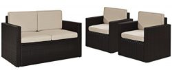 Crosley Furniture Palm Harbor 3-Piece Outdoor Wicker Conversation Set with Sand Cushions – ...