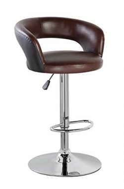 NORDIN NORDIN PU Leather Adjustable Height Swivel Bar Stool Chair With Back( (Brown Black)