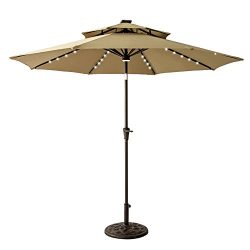 FLAME&SHADE 9ft Solar LED Light Double Top Patio Outdoor Market Umbrella Parasol with Crank  ...