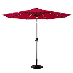 FLAME&SHADE 11 feet Solar Power LED Lights Outdoor Patio Market Umbrella with Crank Lift, Pu ...
