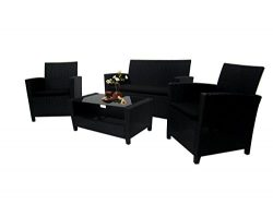 Richly Outdoor Indoor Furniture Set 4 Pieces Patio Rattan Wicker Sofa Set,Black