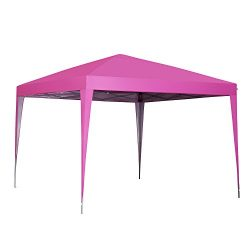 10 x 10 ft Pop-Up Canopy Tent Gazebo for Beach Tailgating Party Pink