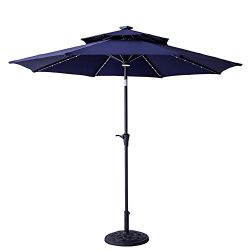 FLAME&SHADE 9′ LED Light DoubleTop Outdoor Patio Market Umbrella with Crank Lift, Push ...