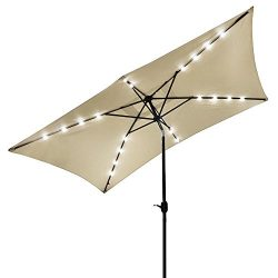 Yeshom 10×6.5ft Rectangle Patio Solar Powered LED Umbrella Tilt and Crank Outdoor Sunshade  ...