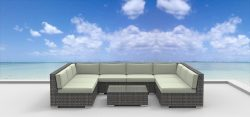 UrbanFurnishing.net 9b-tahiti-biege 9 Piece Modern Patio Furniture Sofa Sectional Couch Set