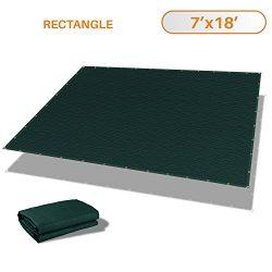 Sunshades Depot 7′ x 18′ Straight Side Sun Shade Sail 180 GSM Dark Green Patio Recta ...