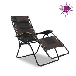 LUCKYBERRY Deluxe Oversized Padded Zero Gravity Chair XL Black&Brown Lounge Patio Chairs Out ...