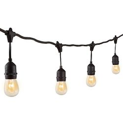 Niosta Commercial Grade Outdoor String Lights,24ft,12 Incandescent Bulbs,UL Listed, Hanging Indo ...