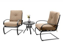 PHI VILLA Motion Patio Big X Design C-Spring Metal Chairs Set 2 and Bistro Table with Beige Cush ...