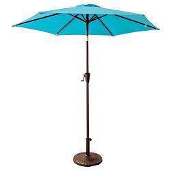 FLAME&SHADE 7'5 Round Patio Outdoor Market Umbrella with Crank Lift, Push Button Tilt, ...