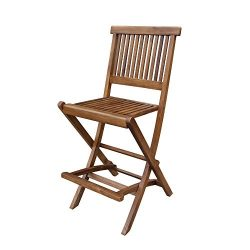 Ala Teak Outdoor Patio Bar Stool Seat Folding Chair Set of 2