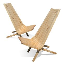 GloDea X45P1NS2 Lounge Chair, Natural, Set of 2