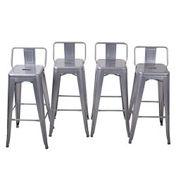 Tongli Metal Barstools Set Industrial Counter Stool (Pack of 4) Patio Dining Chair Silver Low Ba ...