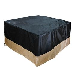 Stanbroil Heavy Duty Patio Square Fire Pit/Table Outdoor Waterproof Cover, Black, 40-Inch