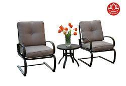 Kozyard Susan 3 PCs Patio Bistro Set Outdoor Furniture for Patio, Garden, and Yard with Cushione ...