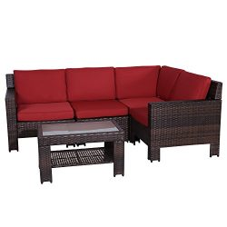 Patio Furniture| Outdoor 5 Piece Deep Wicker Conversation Set Clearance w/Water Resistant Olefin ...