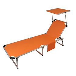 SPORT BEATS Beach Lounge Chair Aluminum Folding 5 Reclining Positions Chaise Lounge with Canopy, ...