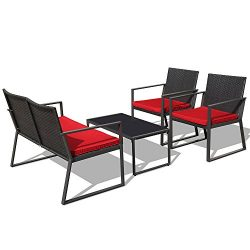 PATIOROMA 4-Piece Outdoor Patio Furniture Sectional Conversation Set, Black Wicker with Blue Cus ...