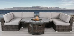 Living Source International Patio Set With Fire Pit, Cup Holder 8 Piece Rattan Sectional Set By  ...