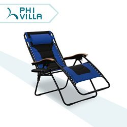 PHI VILLA Oversize XL Padded Zero Gravity Lounge Chair Wooden Armrest Adjustable Recliner with C ...